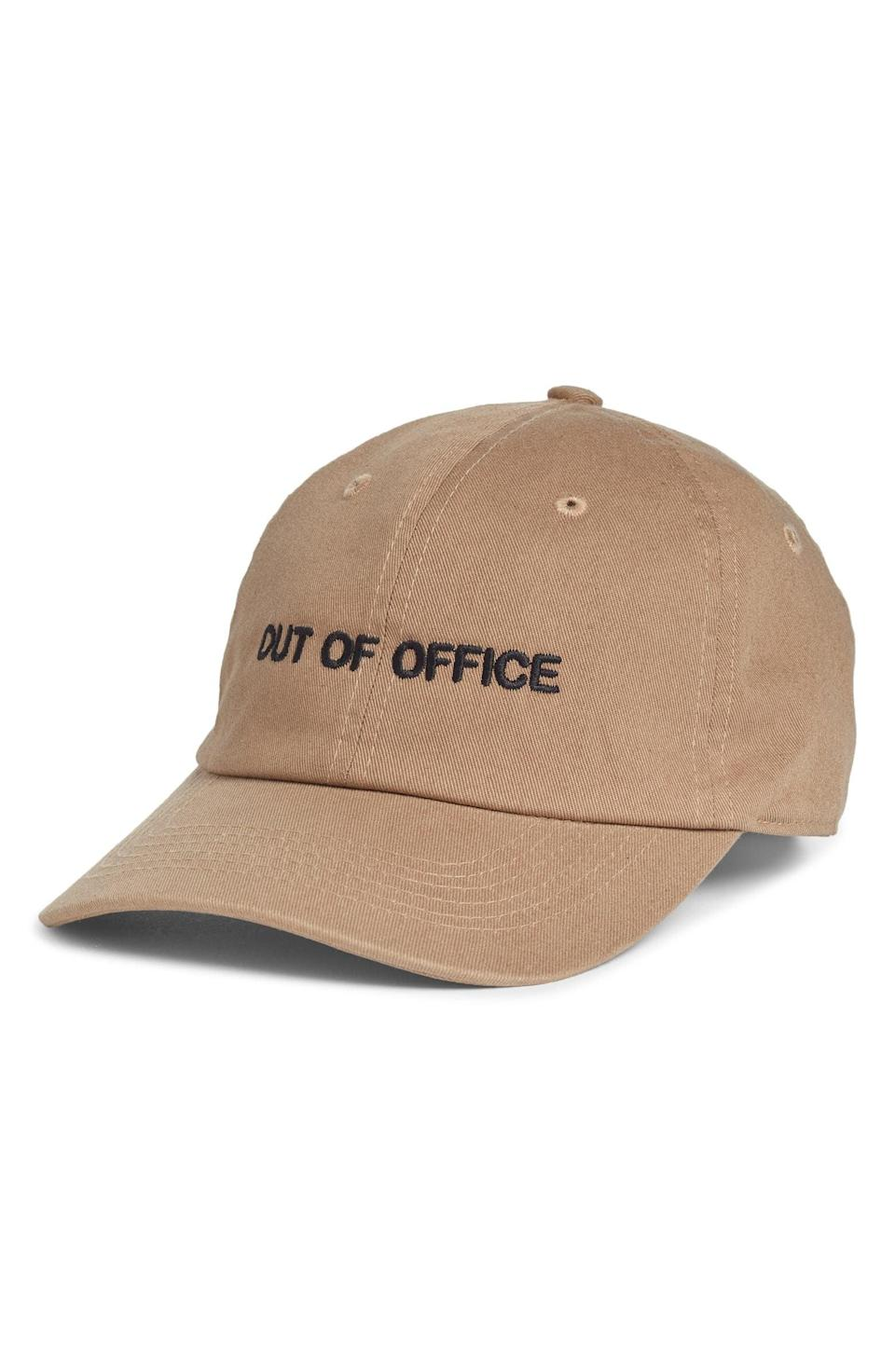 <p>This <span>Intentionally Blank Out of Office Dad Baseball Cap</span> ($30) is awesome for the holidays.</p>