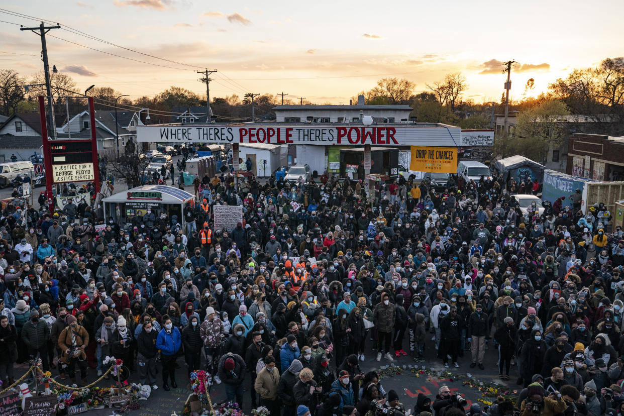 Demonstrators gather In Geworge Floyd Square after the conviction of former Minneapolis police officer Derek Chauvin. (John Minchillo/AP)