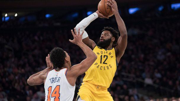 PHOTO: Indiana Pacers guard Tyreke Evans (12) shoots over New York Knicks guard Allonzo Trier (14) during the first half of an NBA basketball game Friday, Jan. 11, 2019, at Madison Square Garden in New York. (AP Photo/Mary Altaffer)