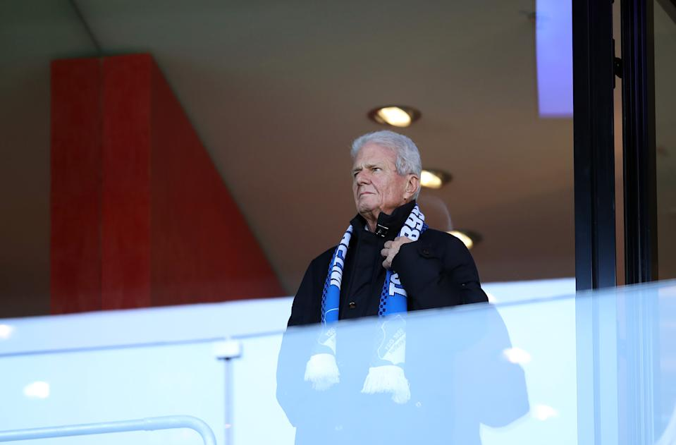 Hoffenheim owner Dietmar Hopp has been a frequent target of his club's supporters' ire to the point that the Bundesliga has enacted the anti-racism protocol for address fan behavior he disapproves. (Photo by Alex Grimm/Bongarts/Getty Images)