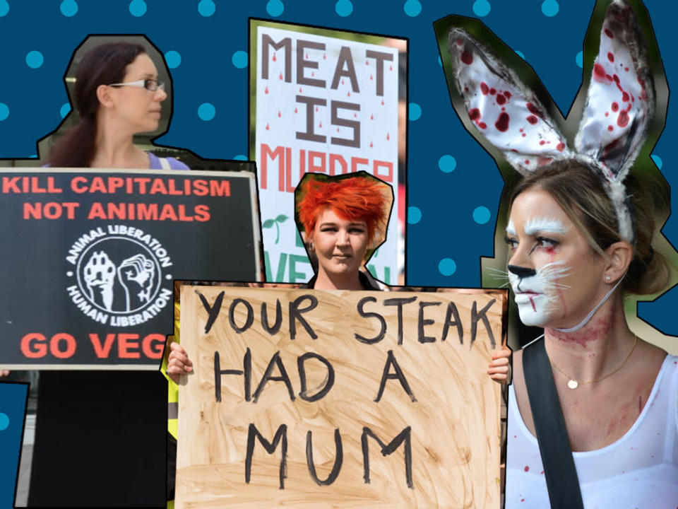 """The protesters were """"were repeating propaganda and stuff relating to consumption of meat"""". [photos: Getty]"""