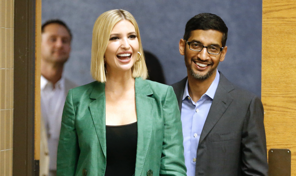 White House advisor Ivanka Trump and the CEO of Google, Sundar Pichai, arrive for a roundtable discussion focusing on assisting American workers for the changing economy at El Centro community college on October 3, 2019 in Dallas, Texas. (Photo: Ron Jenkins/Getty Images)