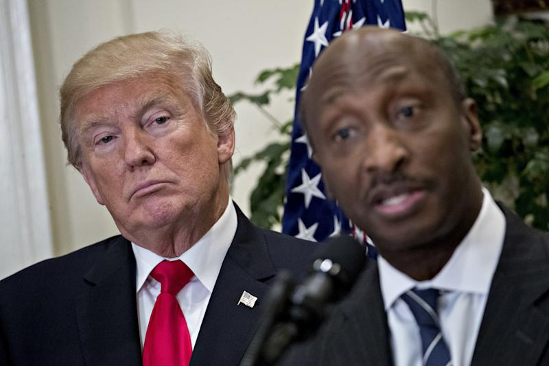 Merck & Co. CEO Kenneth Frazier was the first corporate chieftain to resign from a White House advisory council in protest of President Donald Trump's initial response to deadly violence sparked by a white supremacist rally in Charlottesville, Virginia, last month. (Bloomberg via Getty Images)