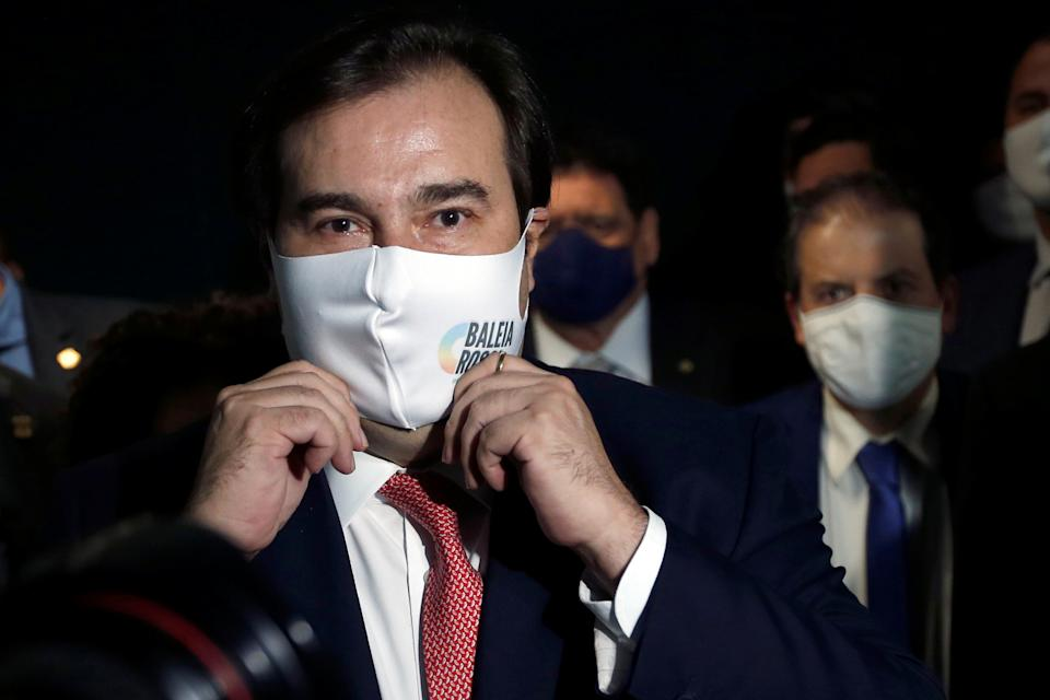 President of Brazil's Lower House Rodrigo Maia adjusts his protective face mask before a news conference at the National Congress in Brasilia, Brazil, January 6, 2021. REUTERS/Adriano Machado