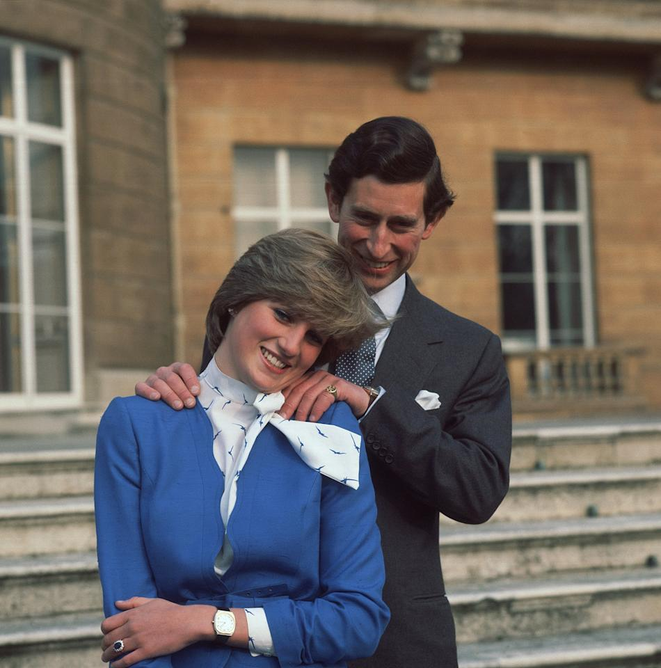 <p>When Princess Diana debuted her ring in the royal couple's engagement photo in 1981, no other color would do. Her rich cobalt suit perfectly complemented that famed sapphire stone - not to mention her blue eyes. </p>