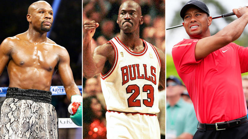 Floyd Mayweather, Michael Jordan and Tiger Woods, pictured here at the height of their careers.