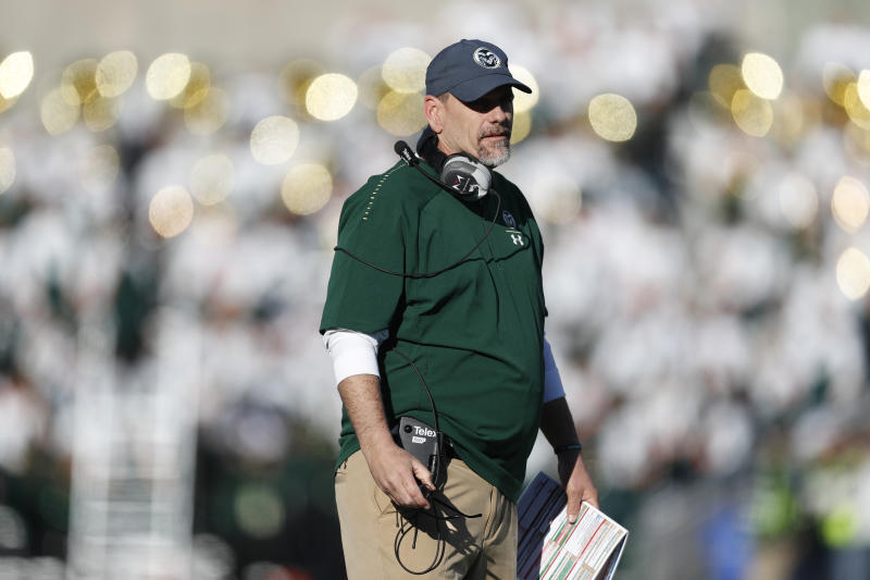 Colorado State head coach Mike Bobo in the second half of an NCAA college football game Saturday, Nov. 2, 2019, in Fort Collins, Colo. Colorado State won 37-17. (AP Photo/David Zalubowski)