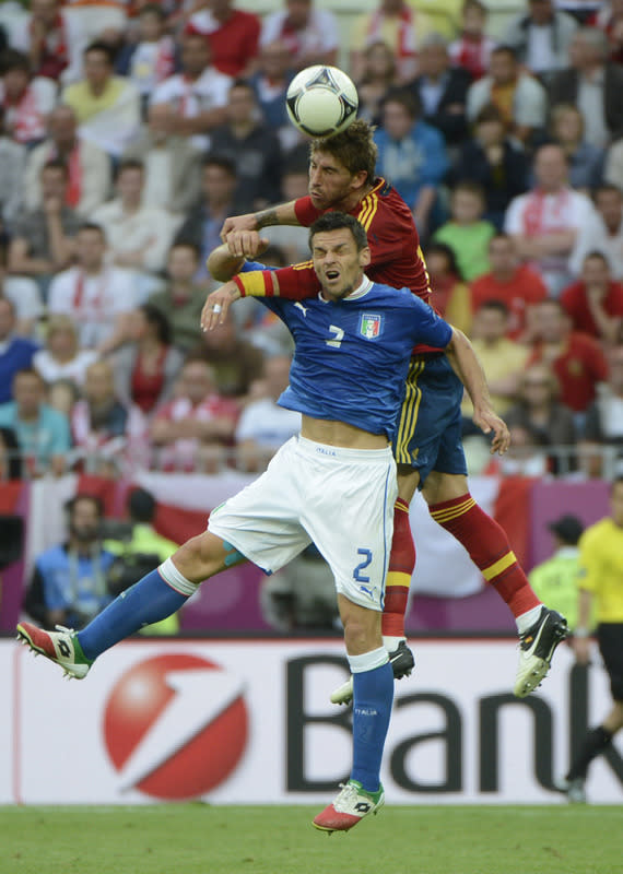 Italian defender Christian Maggio and Spanish defender Sergio Ramos jump for the ball during the Euro 2012 championships football match Spain vs Italy on June 10, 2012 at the Gdansk Arena. AFP PHOTO / PIERRE-PHILIPPE MARCOUPIERRE-PHILIPPE MARCOU/AFP/GettyImages