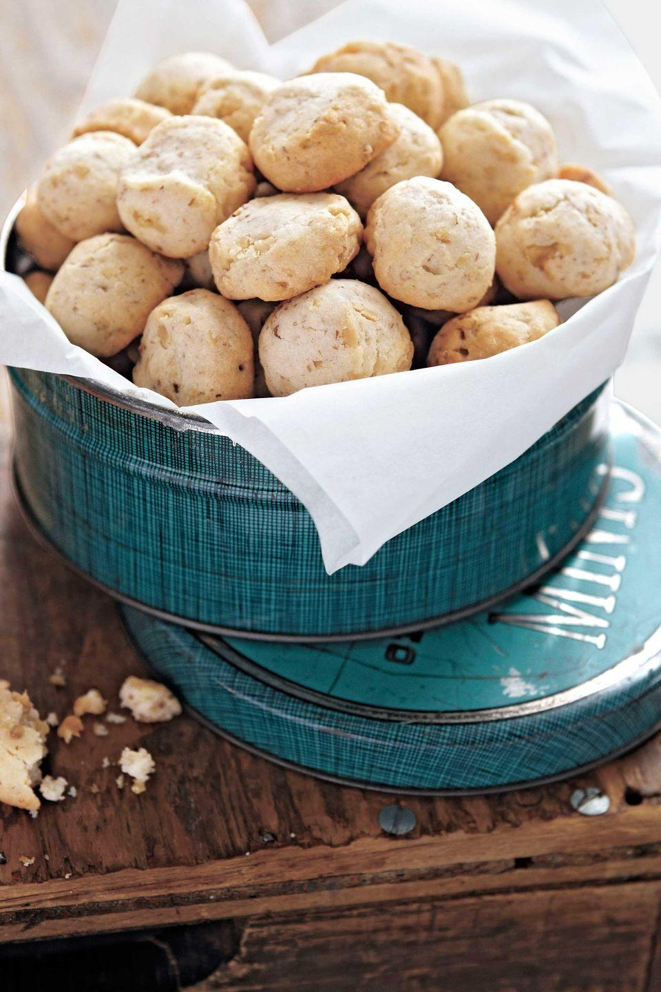 """<p>The addition of cream cheese produces a softer, more cakelike texture than you'll find with typical shortbread. The perfect pairing for these fine-crumb shortbread cookies? A jar of decadent dulce de leche or caramel sauce. </p><p><strong><a href=""""https://www.countryliving.com/recipefinder/cream-cheese-shortbread-toasted-walnuts-recipe-clx1211?click=recipe_sr"""" rel=""""nofollow noopener"""" target=""""_blank"""" data-ylk=""""slk:Get the recipe"""" class=""""link rapid-noclick-resp"""">Get the recipe</a>.</strong></p>"""