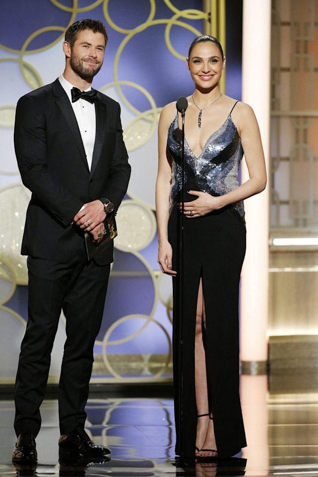 Chris Hemsworth and Gal Gadot onstage during the 74th Golden Globe Awards. (Photo: Paul Drinkwater/NBCUniversal via Getty Images)