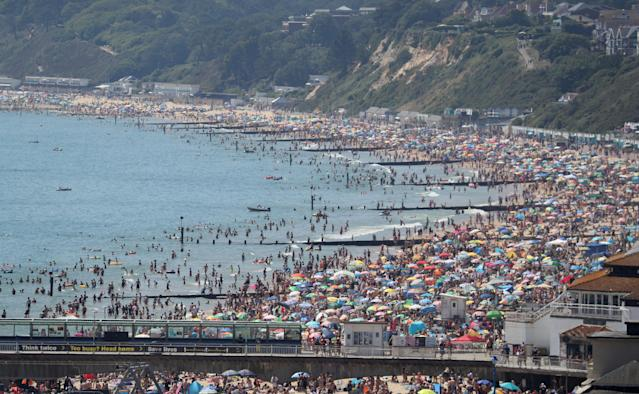 A major incident was declared as authorities were left over-stretched by the crowds who travelled to the beach on Thursday. (PA)
