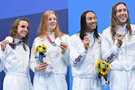 """<p>Biography: Smith is 19, Jacoby is 17, Huske is 18 and Weitzeil is 24</p> <p>Event: Women's medley relay (swimming)</p> <p>Quote: Weitzeil: """"We're racing the best in the world, and we're so close to being gold. We're just so proud of ourselves.""""</p>"""