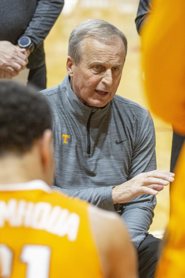 Tennessee head coach Rick Barnes directs his team during a time out in the first half ball game of an NCAA college basketball game against Virginia Commonwealth at the Emerald Coast Classic in Niceville, Fla., Saturday, Nov. 30, 2019. (AP Photo/Mark Wallheiser)