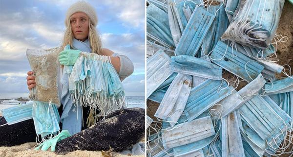 A woman holds dozens of face masks she collected from Bondi Beach. Source: Facebook