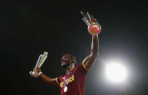 KOLKATA, WEST BENGAL - APRIL 03: Darren Sammy, Captain of the West Indies celebrates victory during the ICC World Twenty20 India 2016 Final match between England and West Indies at Eden Gardens on April 3, 2016 in Kolkata, India. (Photo by Ryan Pierse/Getty Images)