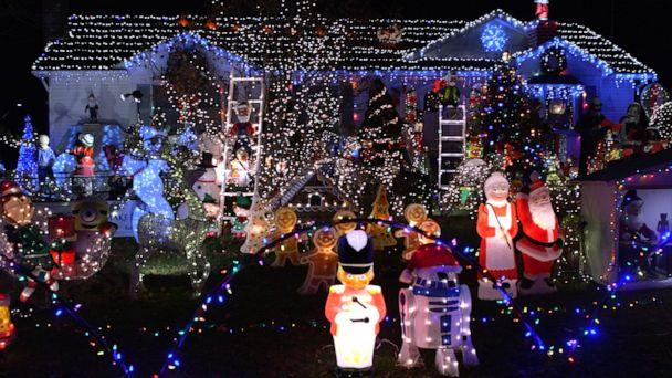 PHOTO: James Blake, 63, decorates inside and outside of his East Pathogue home with 250 pieces and 40,000 lights. (ABC News)