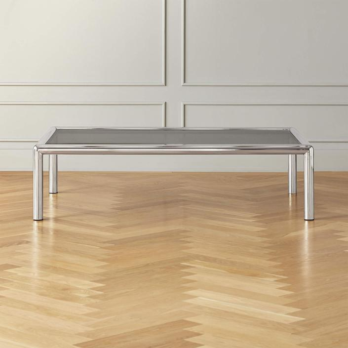 """$1499, CB2. <a href=""""https://www.cb2.com/conrad-wire-glass-coffee-table/s124646"""" rel=""""nofollow noopener"""" target=""""_blank"""" data-ylk=""""slk:Get it now!"""" class=""""link rapid-noclick-resp"""">Get it now!</a>"""