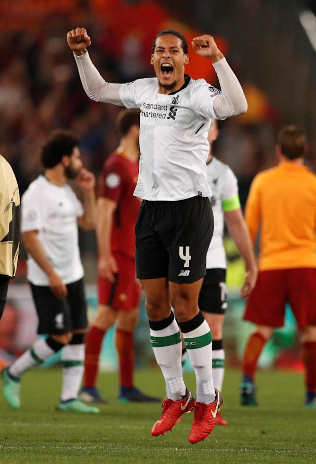 Soccer Football - Champions League Semi Final Second Leg - AS Roma v Liverpool - Stadio Olimpico, Rome, Italy - May 2, 2018 Liverpool's Virgil van Dijk celebrates after the match Action Images via Reuters/John Sibley