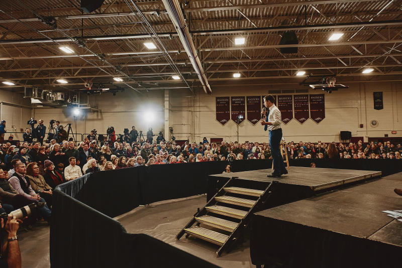 Mayor Pete Buttigieg speaking at his GOTV Rally at the Lebanon High School in Lebanon, N.H. on Feb. 8, 2020. | Tony Luong for TIME