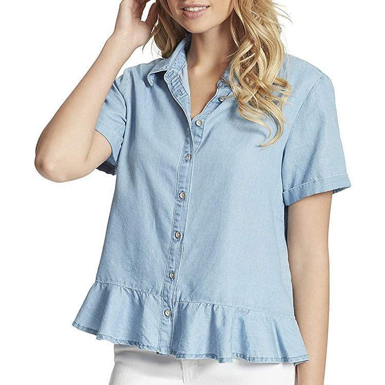 """<p><strong>Jessica Simpson</strong></p><p>amazon.com</p><p><strong>$35.98</strong></p><p><a href=""""https://www.amazon.com/dp/B08PNM9XRF?tag=syn-yahoo-20&ascsubtag=%5Bartid%7C2089.g.2353%5Bsrc%7Cyahoo-us"""" rel=""""nofollow noopener"""" target=""""_blank"""" data-ylk=""""slk:Shop Now"""" class=""""link rapid-noclick-resp"""">Shop Now</a></p><p>On top of matching just about anything, this chambray shirt is two-way, meaning you can wear it inside, out, upside down, backward. OK, maybe not those last two, but you get the point.</p>"""