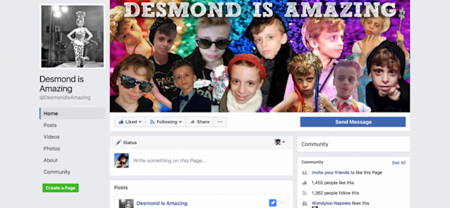 "The Facebook page ""Desmond Is Amazing"" celebrates his spirit."