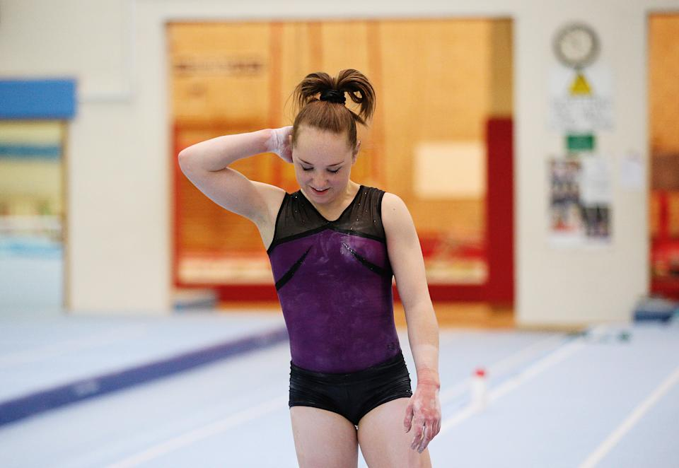LILLESHALL, ENGLAND - APRIL 29: Amy Tinkler of the British Gymnastics Team looks on during a training session at Lilleshall National Sports Centre on April 29, 2016 in Shropshire, England. (Photo by Alex Livesey/Getty Images)