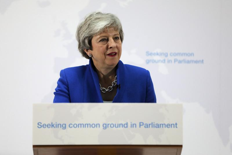 Theresa May delivers a speech setting out a new proposal for her Brexit deal (EPA)