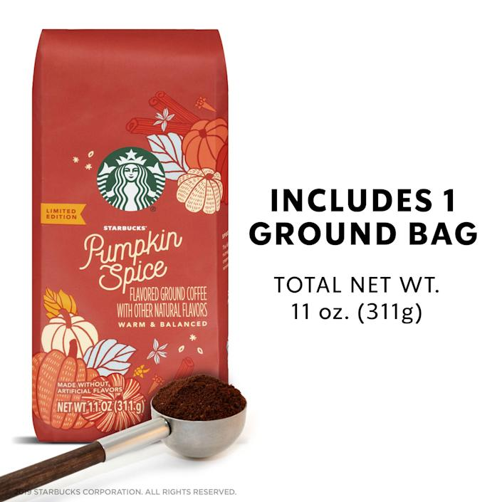 """<p><strong>Starbucks</strong></p><p>walmart.com</p><p><strong>$14.96</strong></p><p><a href=""""https://go.redirectingat.com?id=74968X1596630&url=https%3A%2F%2Fwww.walmart.com%2Fip%2F757928346&sref=https%3A%2F%2Fwww.delish.com%2Ffood-news%2Fg22727687%2Ffall-foods-drinks-flavors%2F"""" rel=""""nofollow noopener"""" target=""""_blank"""" data-ylk=""""slk:Shop Now"""" class=""""link rapid-noclick-resp"""">Shop Now</a></p><p>Even if you're still waiting for the PSL to hit Starbucks stores, you can already enjoy this pumpkin spice-flavored coffee from Starbs from the comfort of your own hom. </p>"""