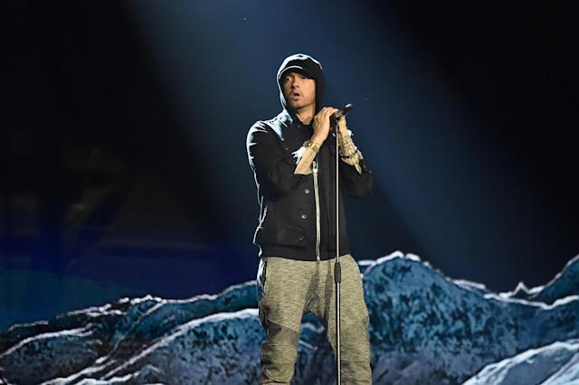 Eminem performs during the MTV EMAs 2017 in London. (Photo: Kevin Mazur/WireImage)