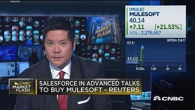 CNBC's Dominic Chu reports that according to Reuters, Salesforce is looking to purchase Mulesoft.