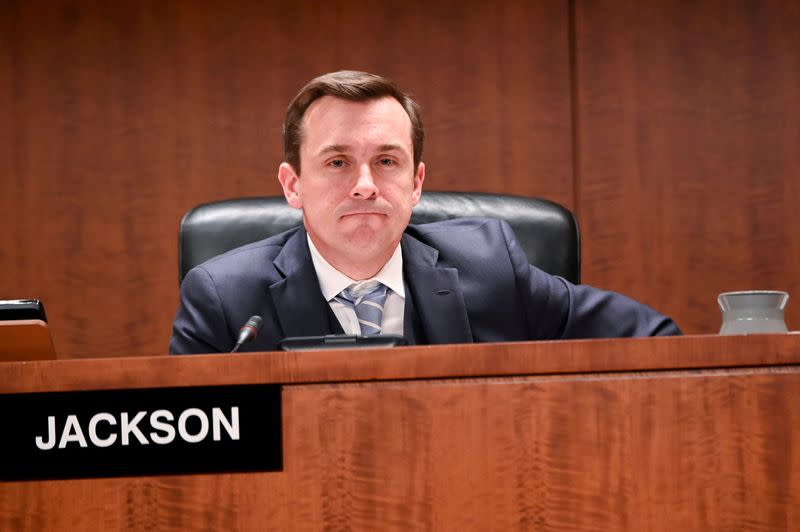 """FILE PHOTO: Commissioner Jackson participates in a U.S Securities and Exchange Commission open meeting to propose changing its definition of an """"accredited investor"""" in Washington"""