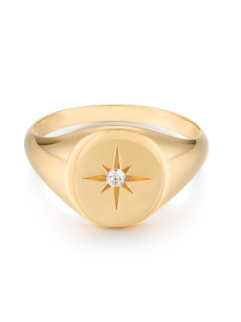 """Get the <a href=""""https://shoppoirier.com/collections/rings/products/starburst-signet"""" target=""""_blank"""" rel=""""noopener noreferrer"""">Poirier starburst signet, available in sizes 7-13, for $65</a>"""