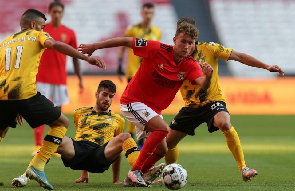 Luca Waldschmidt gets away from a clutch of defenders during Benfica's game against Moreirense.