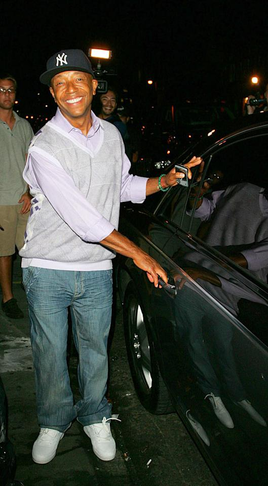 """Kimora's ex Russell Simmons gets ready to call it a night...or is he on to the next party? Ahmad Elatab/Jackson Lee/<a href=""""http://www.splashnewsonline.com/"""" target=""""new"""">Splash News</a> - September 10, 2007"""