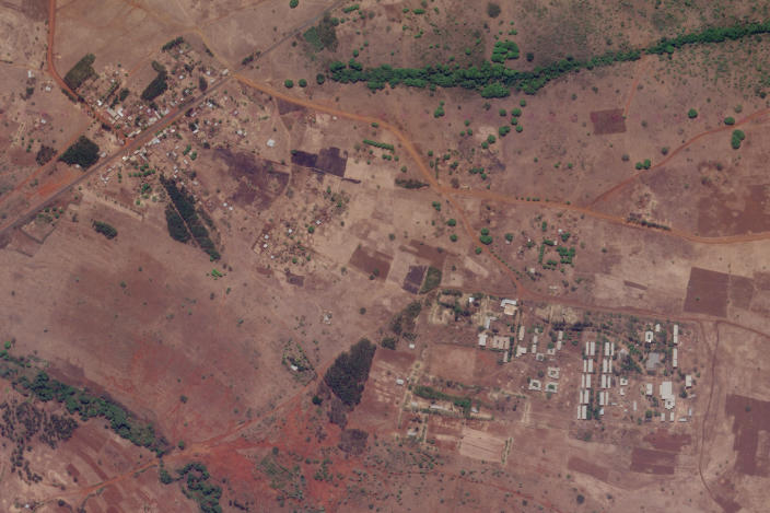 This April 22, 2021 satellite image provided by Planet Labs shows an agricultural college near the town of Assosa, Ethiopia, where witnesses say ethnic Tigrayans have been detained for months without charge, one of several such detention centers across the country. (Planet Labs via AP)