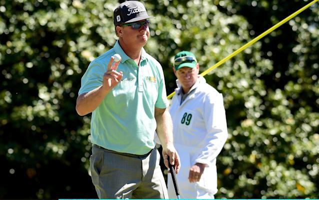 <span>Charley Hoffman moves back into the outright lead with a birdie at the ninth</span> <span>Credit: Harry How/Getty Images </span>