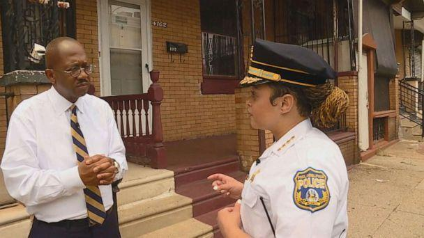 PHOTO: ABC News Chief Justice Correspondent Pierre Thomas speaks to Philadelphia Police Commissioner Danielle Outlaw about the surge in gun violence in the city.  (ABC News )