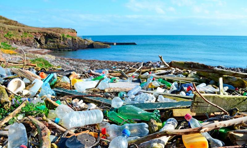 Plastic bottles and other garbage washed up on a beach in the county of Cork, Ireland.