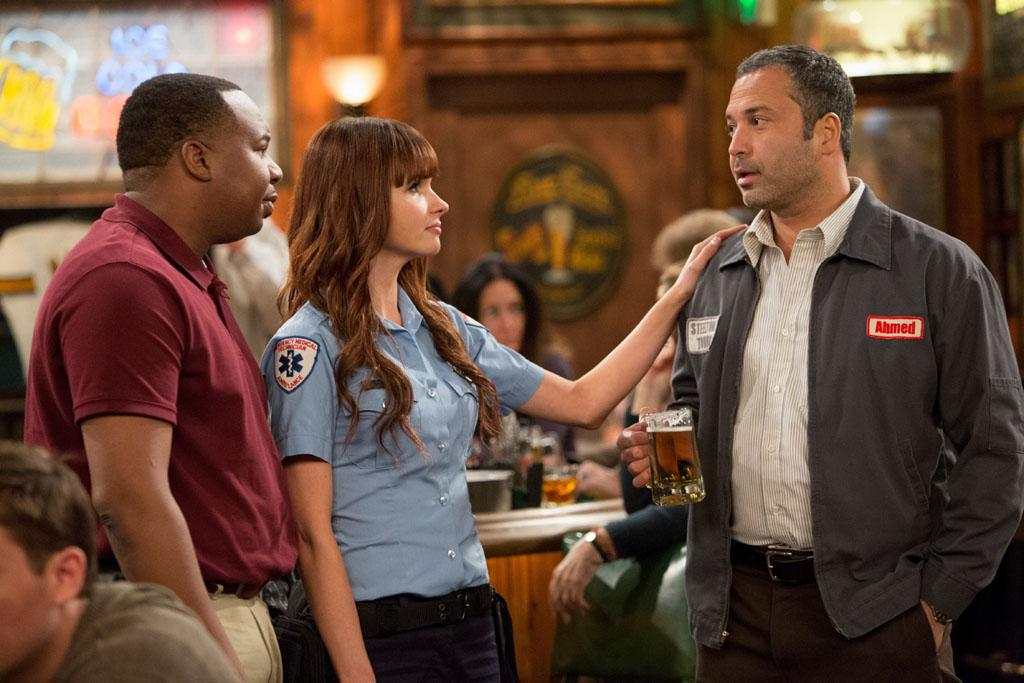 "Roy Wood Jr., Valerie Azlynn, and Ahmed Ahmed in the ""Sullivan & Son"" Season 2 Premiere, ""The Pilot, One More Time."""