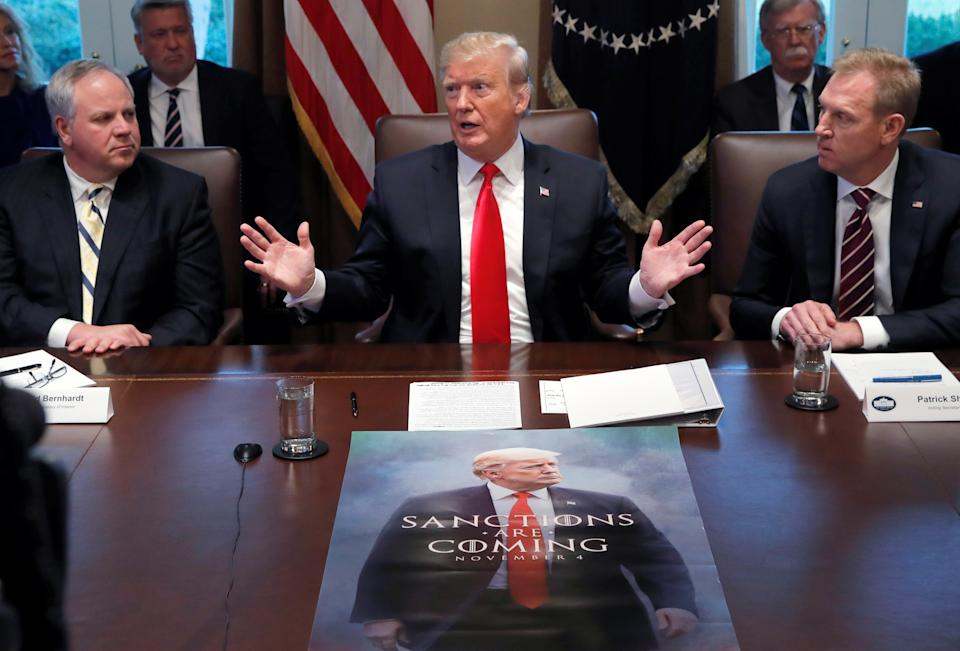 U.S. President Donald Trump, Acting U.S. Defense Secretary Patrick Shanaha n,and Acting Secretary of the Interior David Bernhardt attend a Cabinet meeting on day 12 of the partial U.S. government shutdown at the White House on Jan. 2 (Photo: REUTERS/Jim Young)