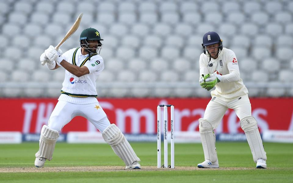 Shan Masood of Pakistan bats watched on by Jos Buttle - GETTY IMAGES