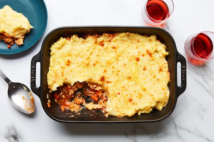 """This new shepherd's pie recipe from Epi contributor Brigid Washington starts with chicken instead of lamb, and layers in warming flavor: ginger, spicy habanero, vibrant lime, as well as Angostura bitters. <a href=""""https://www.epicurious.com/recipes/food/views/shepherds-pie-chicken?mbid=synd_yahoo_rss"""" rel=""""nofollow noopener"""" target=""""_blank"""" data-ylk=""""slk:See recipe."""" class=""""link rapid-noclick-resp"""">See recipe.</a>"""