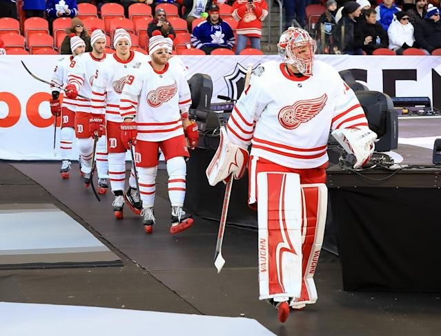<p>TORONTO, ON – JANUARY 1: Jared Coreau #31 of the Detroit Red Wings walks to the ice during the 2017 Scotiabank NHL Centennial Classic at Exhibition Stadium on January 1, 2017 in Toronto, Ontario, Canada. (Photo by Dave Reginek/NHLI via Getty Images) </p>