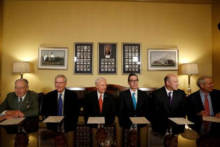 (L-R) Sen. Chuck Grassley (R-IA), Senate Majority Leader Mitch McConnell, Sen. Orrin Hatch, Treasury Secretary Steve Mnuchin and Director of the National Economic Council Gary Cohn, and Sen. Rob Portman (R-OH),introduce the Republican tax reform plan at the U.S. Capitol in Washington, U.S., November 9, 2017. REUTERS/Aaron P. Bernstein