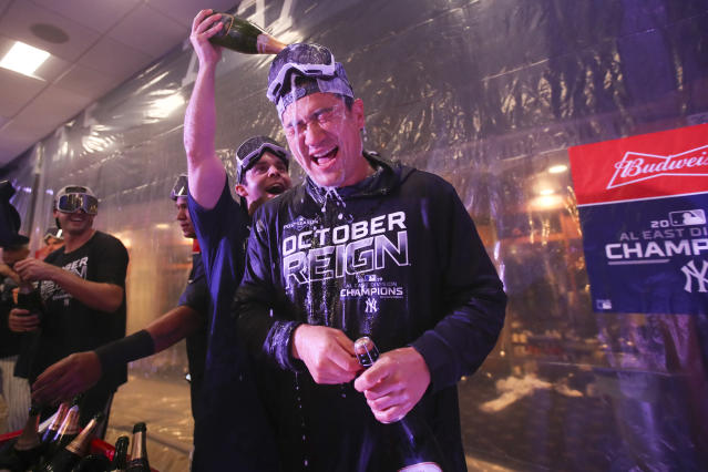 New York Yankees starting pitcher Masahiro Tanaka celebrates after defeating the Los Angeles Angels and clinching the AL East baseball title Thursday, Sept. 19, 2019, in New York. (AP Photo/Mary Altaffer)