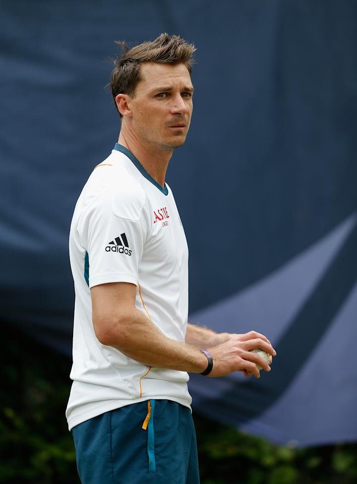 CARDIFF, WALES - JUNE 12: Dale Steyn looks on during a South Africa nets session at Cardiff Wales Stadium on June 12, 2013 in Cardiff, Wales.  (Photo by Harry Engels-ICC/ICC via Getty Images)