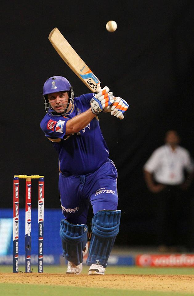 Rajasthan Royals player Brad Hodge during match 66 of the Pepsi Indian Premier League ( IPL) 2013  between The Mumbai Indians and the Rajasthan Royals held at the Wankhede Stadium in Mumbai on the 15th May 2013 ..Photo by Vipin Pawar-IPL-SPORTZPICS ..Use of this image is subject to the terms and conditions as outlined by the BCCI. These terms can be found by following this link:..http://www.sportzpics.co.za/image/I0000SoRagM2cIEc