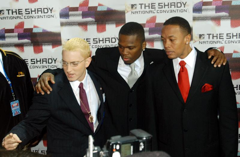 "With Dr. Dre and 50 Cent At the launch of Sirius radio channel ""Shade 45"" in New York, New York."
