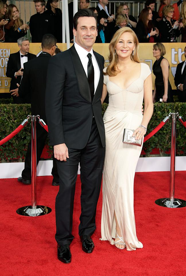 Jon Hamm and Jennifer Westfeldt arrive at the 19th Annual Screen Actors Guild Awards at the Shrine Auditorium in Los Angeles, CA on January 27, 2013.