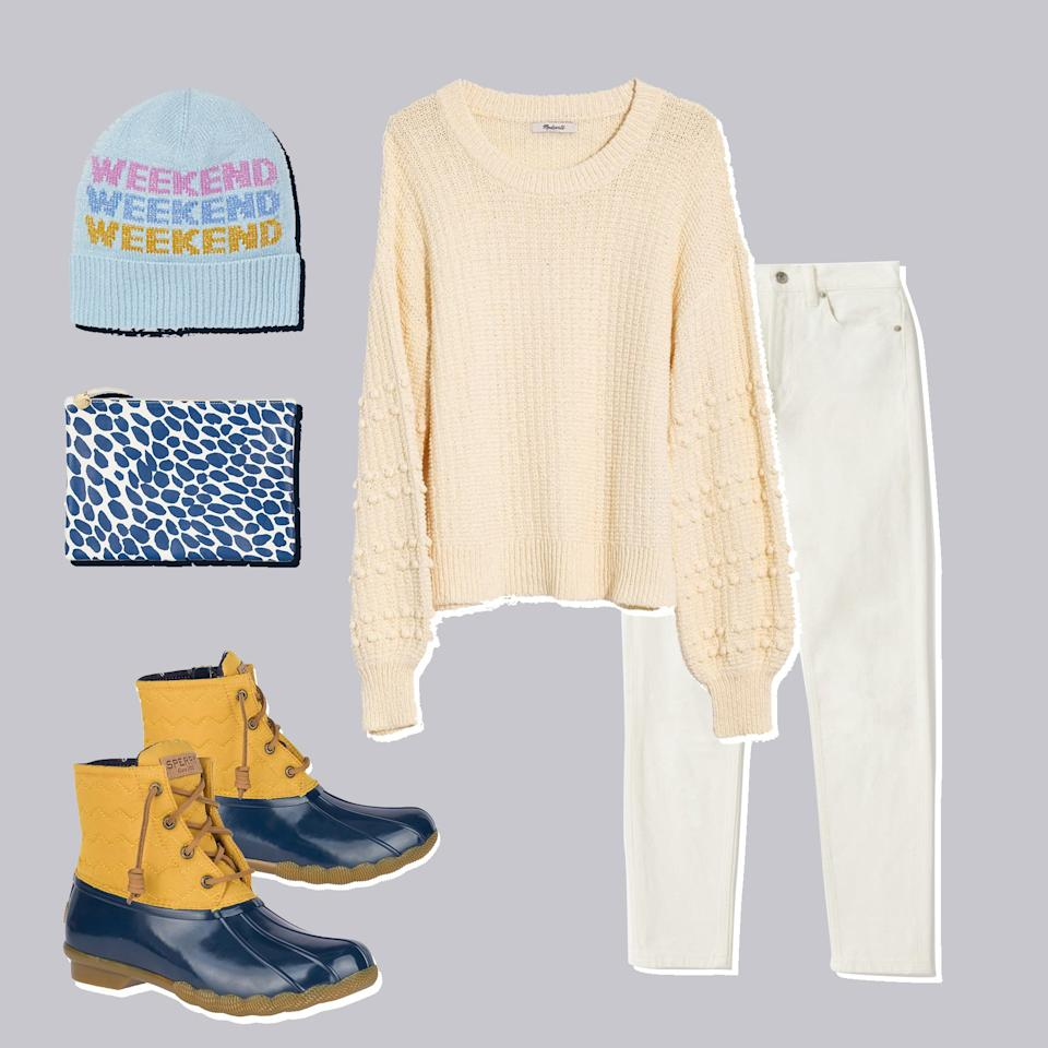 """<p>Winter whites are just the thing for a cold-weather brunch with friends. For color, we suggest keeping your essentials—phone, keys, wallet!—in a printed clutch. It'll go perfectly with these blue-tipped quilted boots. (Bonus: The kicks are waterproof.) A personality-filled beanie will keep things feeling light and breezy. Sunday scaries, who?</p> <p><em><strong>Sperry Saltwater Quilted Chevron Duck Boot, $120, <a href=""""https://www.sperry.com/en/saltwater-quilted-chevron-duck-boot/39498W.html?icid=search_suggested_products&dwvar_39498W_color=STS84024"""">sperry.com</a>.</strong> <a href=""""https://shop.nordstrom.com/s/madewell-bobble-sweater/5394290?origin=category-personalizedsort&breadcrumb=Home/Women/Clothing/Sweaters&color=avalon%20pink"""">Sweater</a>, $80. <a href=""""https://www.everlane.com/products/womens-mid-waist-white-denim-jeans-ankle"""">Jeans</a>, $68. <a href=""""https://www.katespade.com/products/weekend-beanie/KS1002165.html"""">Beanie</a>, $48. <a href=""""https://www.clarev.com/collections/view-all-handbags/products/flat-clutch-white-smooth-goat-w-pacific-jag-splash"""">Clutch</a>, $215.</em></p>"""